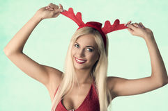 Girl in funny christmas portrait Royalty Free Stock Photography
