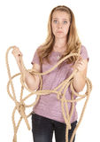 Girl funny face rope Royalty Free Stock Photo