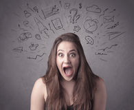 Girl with funny facial expression Royalty Free Stock Image