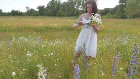 The girl Funny in the field collects wildflowers. Girl nature summer freedom lifestyle stock video