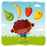 Girl with funny fruits Royalty Free Stock Photography