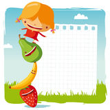 Girl with funny fruits Royalty Free Stock Images