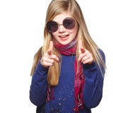 Girl with funny glasses pointing at you Royalty Free Stock Photo