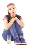 Girl funny grimace Royalty Free Stock Images