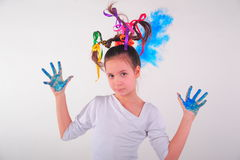 Girl with a funny hairdo Royalty Free Stock Photo