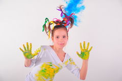 Girl with a funny hairdo Royalty Free Stock Image