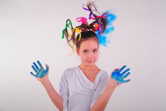 Girl with a funny hairdo Royalty Free Stock Photography