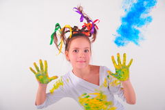 Girl with a funny hairdo Stock Photo