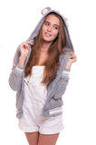 Girl in funny hoody Stock Photos