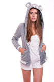 Girl in funny hoody Stock Photography