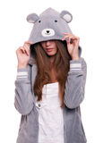 Girl in funny hoody Royalty Free Stock Image