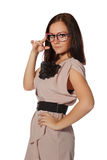 Girl with funny pink eyeglasses stock photography