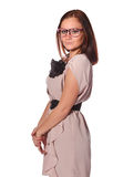 Girl with funny pink eyeglasses Royalty Free Stock Photography