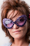 Girl with funny sunglasses Royalty Free Stock Photography