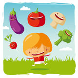 Girl with funny vegetables Royalty Free Stock Images