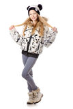 Girl in funny winter coat Stock Photography