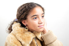 Girl in fur Stock Photos