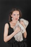 Girl with fur Stock Image