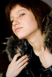 Girl with fur stock photos