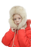 The girl in a fur cap Royalty Free Stock Images