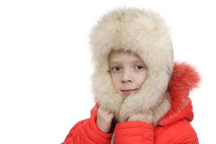 The girl in a fur cap Royalty Free Stock Image