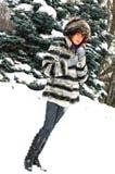 Girl in fur coat royalty free stock photos
