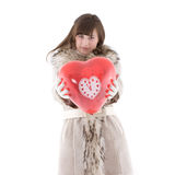Girl in fur coat Stock Photo
