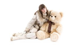 Girl in fur coat Royalty Free Stock Image