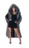 Girl in a fur coat Stock Image