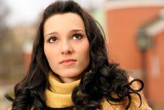 Girl in fur coat Stock Images