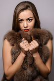 The girl in a fur coat . Beautiful Luxury Winter Woman. Royalty Free Stock Image