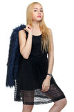 Girl with fur coat Royalty Free Stock Photography