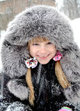 Girl in a fur coat and hat Royalty Free Stock Photos