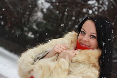 The girl in a fur coat in the winter Royalty Free Stock Images