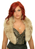 A girl in a fur collar Royalty Free Stock Photos
