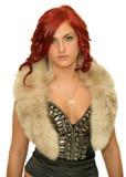 A girl in a fur collar Royalty Free Stock Photos