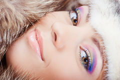 Girl in fur hat. Young pretty girl in fur hat portrait Stock Photo
