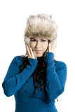 Girl with a fur hat Royalty Free Stock Photos