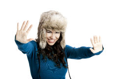 Girl with a fur hat Stock Photos