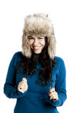 Girl with a fur hat Royalty Free Stock Photo