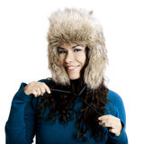 Girl with a fur hat Royalty Free Stock Images