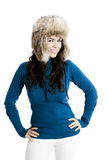 Girl with a fur hat Stock Images