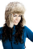 Girl with a fur hat Royalty Free Stock Photography