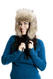 Girl with a fur hat Stock Photo