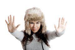 Girl with a fur hat Stock Image