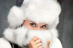 A girl in a fur hat Royalty Free Stock Image