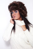 Girl in fur hat Royalty Free Stock Photos