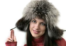 Girl in fur hat Royalty Free Stock Photo