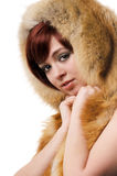 Girl in a fur hat Royalty Free Stock Photography