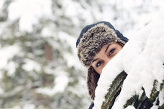 Girl in a fur hat Stock Photo